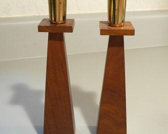 Mid-Century Brass & Wood Candlesticks Kustom Kraft