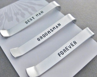 """Set of 3 Small Tie Bars with Custom Initials on the front, """"BEST_MAN"""", """"GROOMSMAN"""" and """"FOREVER""""  on the back, Wedding Day, Bridal Party"""