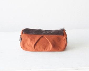 Zipper makeup bag in burnt orange and brown leather, cosmetic bag, accessory bag, utility case, zipper pouch - Estia Bag