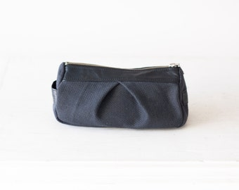 Blue cosmetic bag, accessory case makeup bag utility case toiletry bag - Estia Bag
