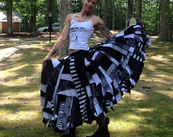 CUSTOM ORDER DEPOSIT Black and White Scrappy Patchwork Maxi Twirl Skirt
