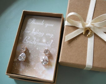 Gold Cyrstal Bridesmaid Earrings
