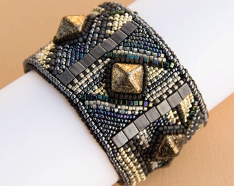 Bead Embroidered Black and Silver Bracelet