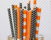 Orange & Black Paper Party Straws, Set of 25