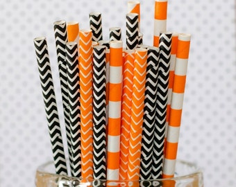 Orange & Black Paper Party Straws, Set of 25