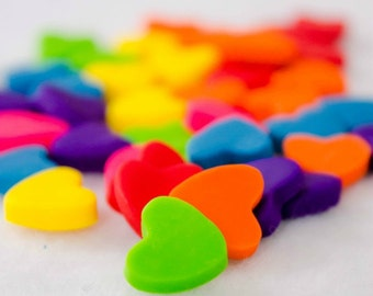 Colorful Polymer Clay Heart Cabochons, Set of 50