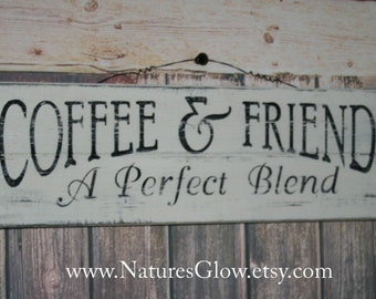 Coffee and Friends Sign, Kitchen Sign, Wood Planks, Gift for Friend, Coffee Sign, Coffee Lover Gift, Farmhouse Decor, Coffee Bar Decor