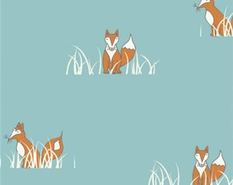 SALE - Birch Fabrics - Camp Sur Collection - Sly Fox in Turquoise Organic