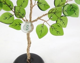 50% OFF SALE! Recycled Bottle Glass Tree, Bonsai Vintage Style Ming Tree, Green Leaves with Money Bag Charm