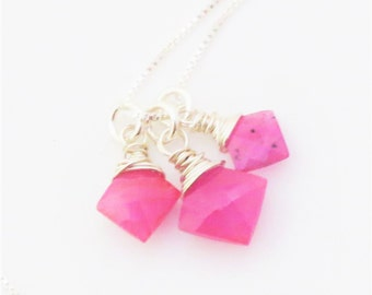 Pink Sapphire Trio Gemstone Sterling Silver Necklace EE Designs