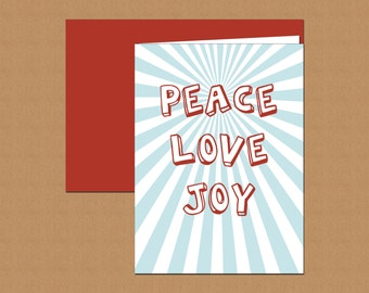 Bursting with Peace, Love and Joy Holiday Cards (set of 12)