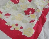 Vintage Cotton Table Cloth Bright Flowers Red 68 X 57