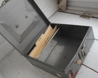 Vintage Metal File Box Gray Industrial with Key