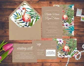 Tropical Flamingo Kraft Wedding Invitation Set