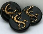 Dancing Lizard Czech Glass Buttons (3)
