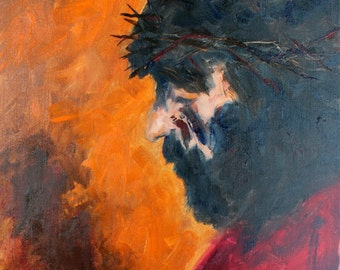 PASSION of the CHRIST - Crown of Thorns - 12 x 12 - Original Oil - Christ Jesus - Artwork - Orange - Lord - Religious - Painting - Portrait