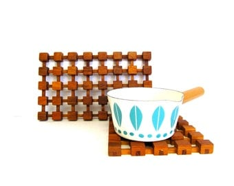 Vintage Teak Trivet Grid Pattern, Rectangle and Square