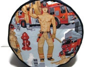 Firemen Firefighters Pouffe Footrest Floor Cushion Pouff Blue Corduroy