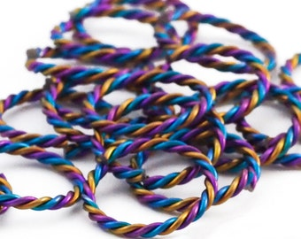 2 - Twisted 3 Color Anodized Niobium Jump Rings 12 gauge 13.5mm ID