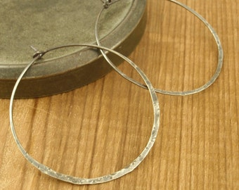 Sterling Silver Earring Hoops - 45mm - Distressed and Antiqued