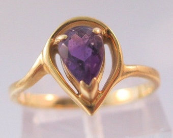 HALLOWEEN SALE Vintage 14k Solitaire .5ct Amethyst Pear Shaped Ring Size 5.5 Fine Jewelry Jewellery