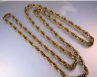 "HALLOWEEN SALE Vintage 54"" Rope Chain Thick Gold Tone Jewelry Jewellery"