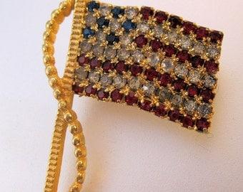 Vintage American USA Flag Rhinestone Brooch Sgd RAFAELIAN Costume Jewelry Jewellery