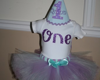 girls birthday outfit purple aqua blue 1st birthday shirt. birthday hat and tutu skirt cake smash outfit, gold one shirt, birthday tutu