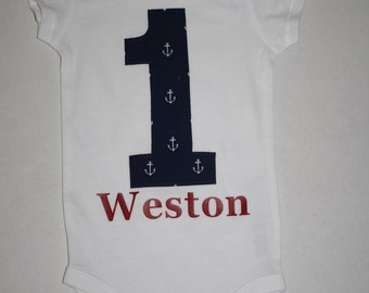 boys cake smash outfit 1st birthday outfit, nautical anchors personalized one bodysuit, boys first birthday bodysuit