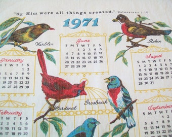 Linen Kitchen Towel, 1971 birds, hand towel, dish towel, kitchen