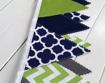 Bunting Banner,Photography Prop,Fabric Flags,Nursery Decor,Birthday Decoration,Garland,Home Decor,Lime Green,Gray,Navy Blue,Grey,Chevron
