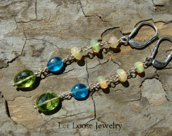Long gemstone earrings, genuine peridot apatite opal sterling silver, handmade, blue green, leverbacks, Let Loose Jewelry, under 100