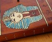 King Tut Leather Journal Handmade OOAK