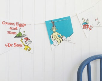 dr seuss green eggs and ham book party decoration banner garland