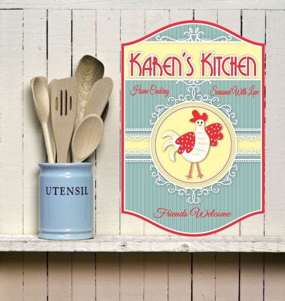 Personalised Kitchen Signs: Personalized Kitchen Sign With A Cute Chicken Kitchen Décor