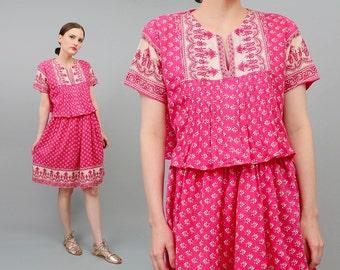 Vintage 70s Pink INDIA Cotton Dress, Two Piece Set, 70s Peasant Shirt, Bohemian Crop Top, Boho Mini Skirt, Hippie 2 pc, Ramona Rull Medium M