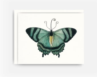 Art Nouveau Teal Butterfly Illustration Greeting Card No. 11, Blank Note Card, A2 Note Card