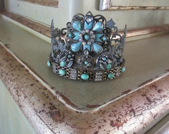 Crown Metal Embellished Vintage Jewelry Turquoise, Rhinestones