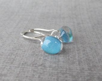 Ocean Blue Earrings, Small Dangle Earrings, Blue Glass Earrings, Lampwork Dangles Blue, Silver Wire Earrings, Sterling Silver Earrings Blue