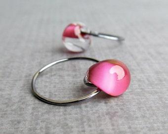 Orchid Pink Earrings, Lampwork Earrings Pink, Pink Hoop Earrings, Small Pink Earrings, Oxidized Wire Earrings, Dark Silver Earrings Hoops