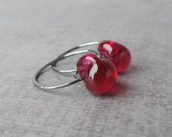 Fuchsia Hoop Earrings, Fuchsia Earrings, Dark Pink Earrings Hoops, Oxidized Earrings, Sterling Silver Wire Hoops, Earrings Lampwork Glass