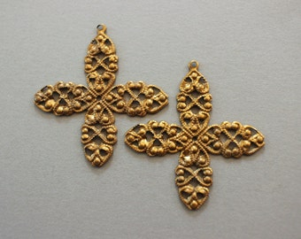 Vintage Oxidized Brass Filigree Wrap Pendant Findings