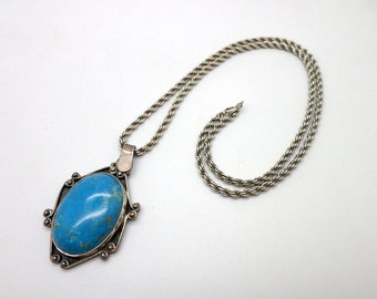 Vintage Southwestern Style Blue Turquoise and Sterling Silver Chain Necklace