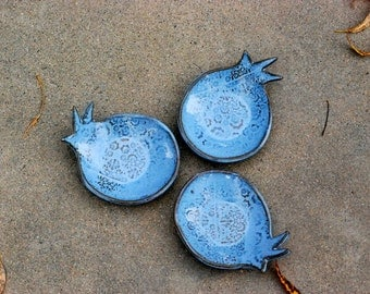 Pomegranate dish, ring holder, bowl set, catch all bowl, candle votive, blue pottery, Rosh Hashanah gift, fall decor
