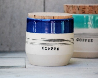 ceramic coffee jar, stoneware coffee, pottery jar and cork lid, kitchen canisters, storage containers