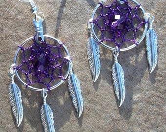 ON SALE WHO Loves Purple ll - Purple, silver & Amethyst Dream catcher earrings, dreamcatcher earrings, dangle dream catcher native made earr