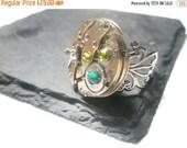 Valentines sale Steampunk Ring Steam Punk Jewellery Vintage Watch Ring Emerald Green Olivine Swarovski Brass clockwork copper filigree adjus