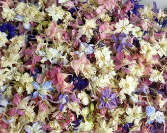 Pastel Dried Flowers, Larkspur, Tossing Flowers, Petal Confetti, Wedding Flowers, Table Decor, Natural Confetti, Biodegradable, 6 US cups