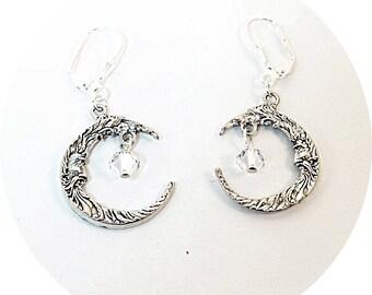 Crescent Moon Earrings, Man in the Moon Earrings, Dangle Earrings, Moon Face Earrings, Crystal Moon Earrings, Fashiion Earrings,Moon Dangles