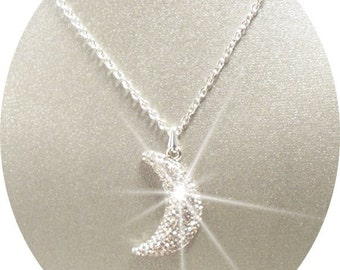 Moon Pendant Necklace, Glitter Moon, Crescent Moon Necklace, Moon Jewelry, Bridal Necklace, Crescent Moon Jewelry, Bridal Accessories